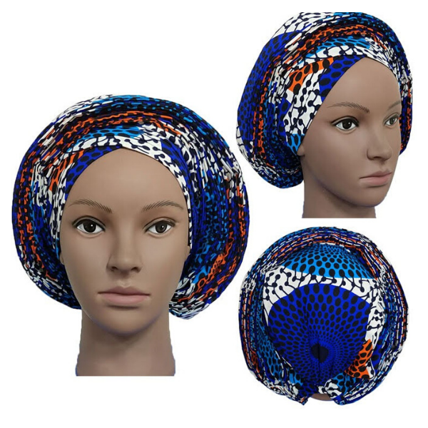 High Quality Wax Print Auto Gele #13 - Alagema Fabrics & Accessories