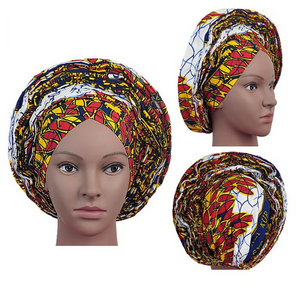 High Quality Wax Print Auto Gele #9 - Alagema Fabrics & Accessories