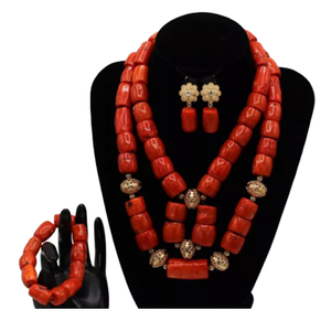 Women's High Quality Coral Jewelry Set #19 - Alagema Fabrics & Accessories