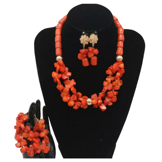 Women's High Quality Coral Jewelry Set #17 - Alagema Fabrics & Accessories