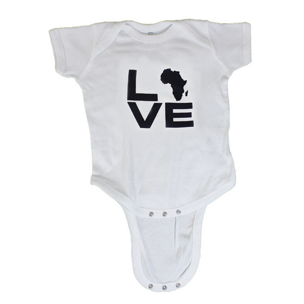 Baby Short Sleeve Bodysuit: Love Africa - Alagema Fabrics & Accessories