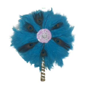 High-Quality Handmade Wedding Feather Hand Fan #8 - Alagema Fabrics & Accessories