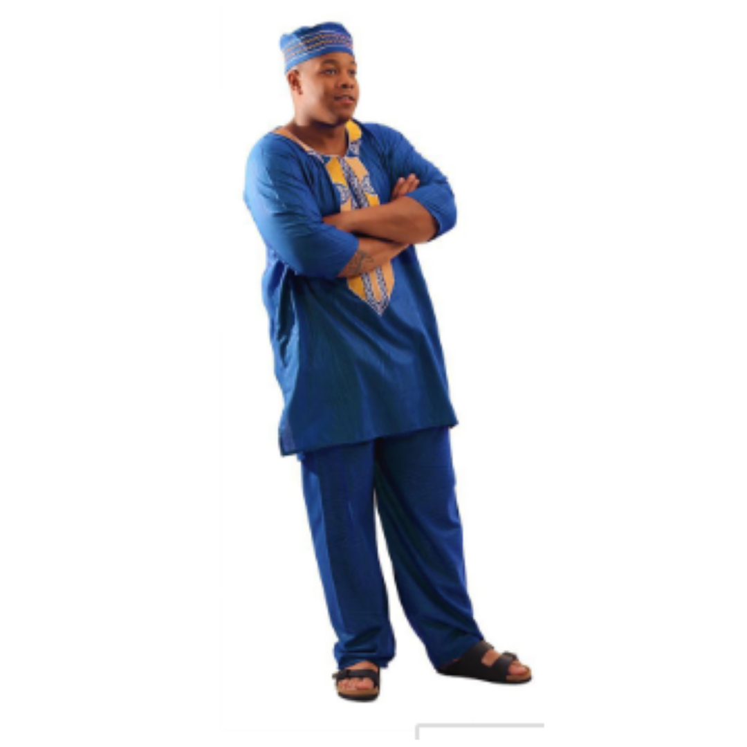 Blue Regal Pant Set - Alagema Fabrics & Accessories