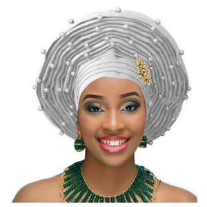 High-Quality Aso Oke Auto Gele #24 - Alagema Fabrics & Accessories