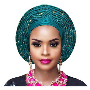High-Quality Aso Oke Auto Gele #17 - Alagema Fabrics & Accessories