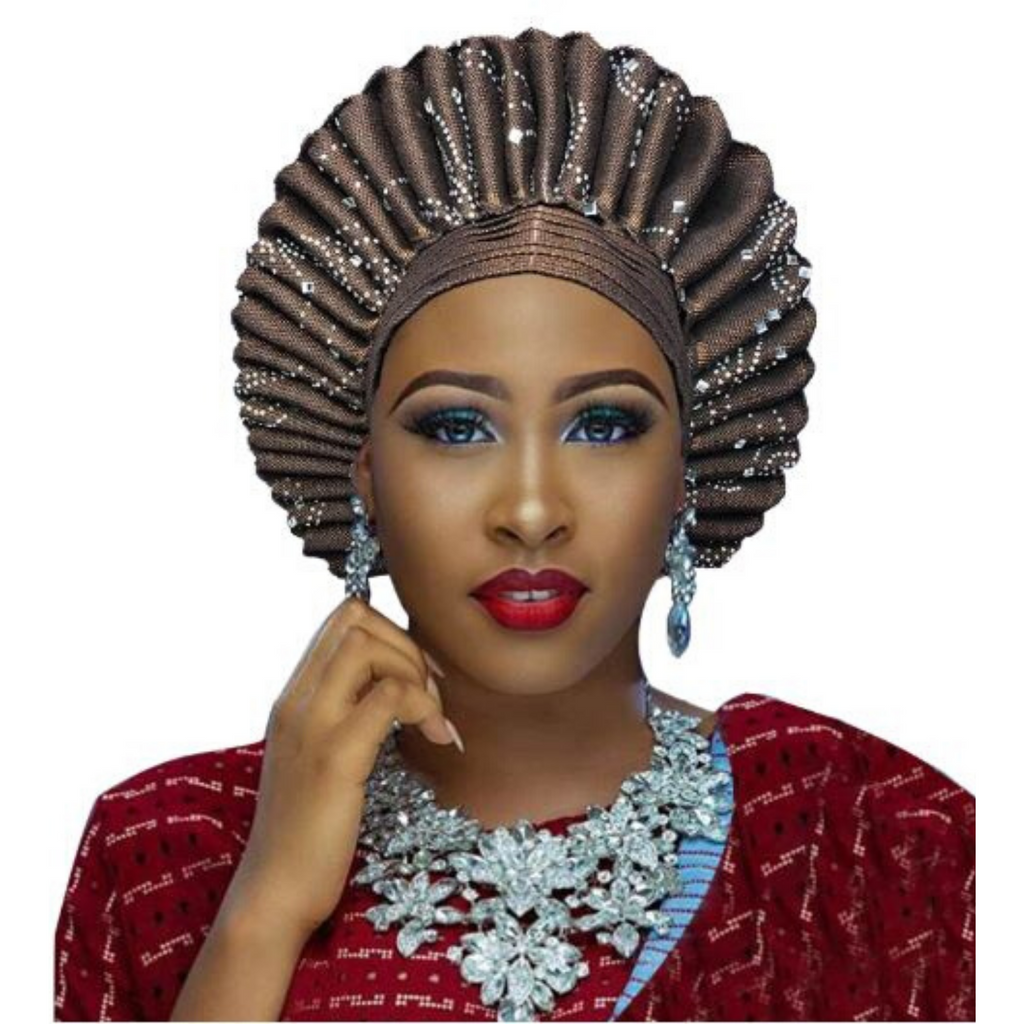 High-Quality Aso Oke Auto Gele #1 - Alagema Fabrics & Accessories
