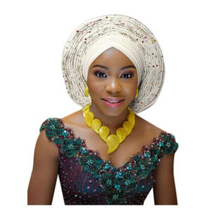 High-Quality Aso Oke Auto Gele #57 - Alagema Fabrics & Accessories
