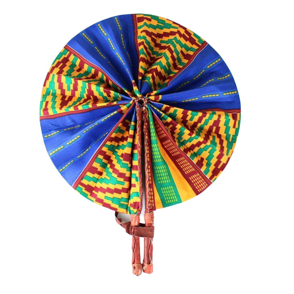 High-Quality Blue / Orange Kente African Print Leather Folding Fan - Alagema Fabrics & Accessories