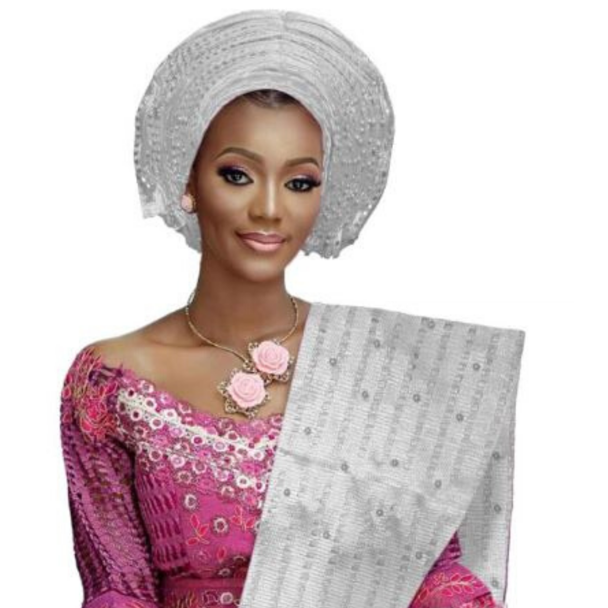 High Quality Aso Oke Beaded African Headwrap With Matching Shawl #1 - Alagema Fabrics & Accessories