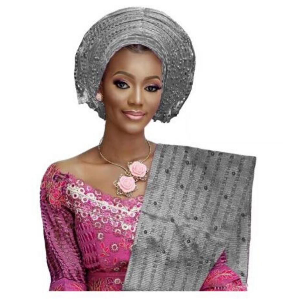 High Quality Aso Oke Beaded African Headwrap With Matching Shawl #10 - Alagema Fabrics & Accessories
