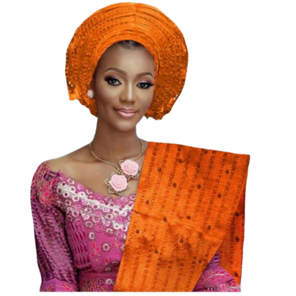 High Quality Aso Oke Beaded African Headwrap With Matching Shawl #16 - Alagema Fabrics & Accessories