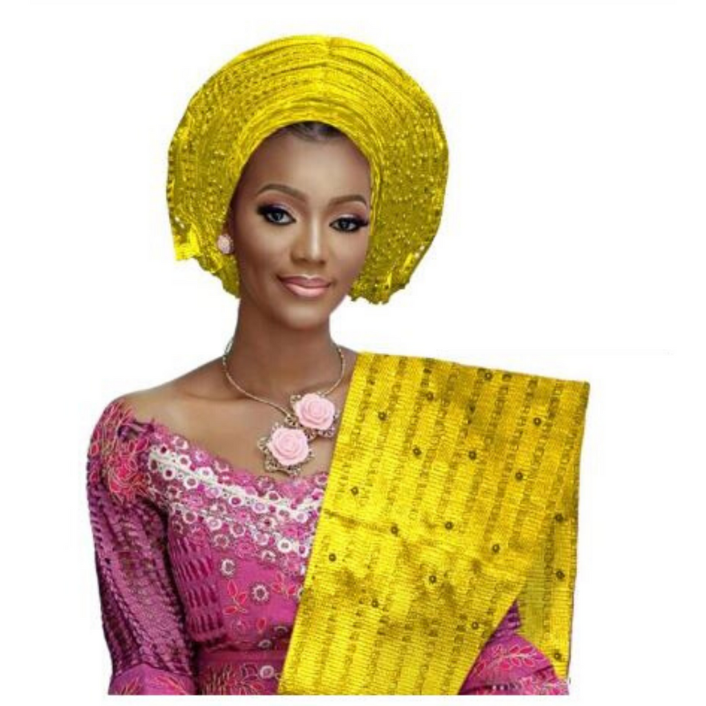 High Quality Aso Oke Beaded African Headwrap With Matching Shawl #13 - Alagema Fabrics & Accessories