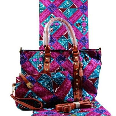 High Quality Six Yards African Wax Print Fabric with Matching Bag #3 - Alagema Fabrics & Accessories