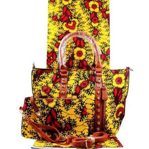 High Quality Six Yards African Wax Print Fabric with Matching Bag #2 - Alagema Fabrics & Accessories