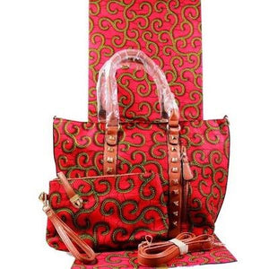 High Quality Six Yards African Wax Print Fabric with Matching Bag #65 - Alagema Fabrics & Accessories
