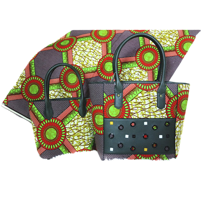 High Quality Six Yards African Wax Print Fabric with Matching Bag #16 - Alagema Fabrics & Accessories