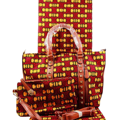 High Quality Six Yards African Wax Print Fabric with Matching Bag #23 - Alagema Fabrics & Accessories