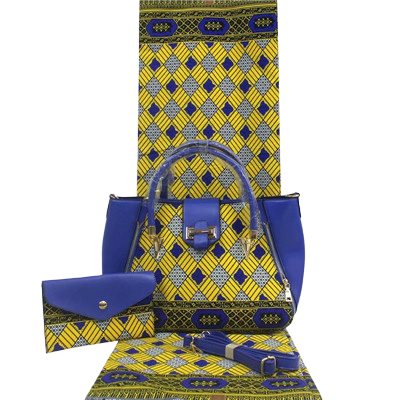 High Quality Six Yards African Wax Print Fabric with Matching Bag #27 - Alagema Fabrics & Accessories