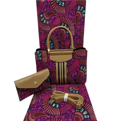 High Quality Six Yards African Wax Print Fabric with Matching Bag #24 - Alagema Fabrics & Accessories