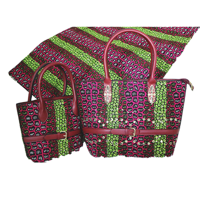 High Quality Six Yards African Wax Print Fabric with Matching Bag #10 - Alagema Fabrics & Accessories