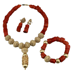 Women's High Quality Coral Jewelry Set #37 - Alagema Fabrics & Accessories