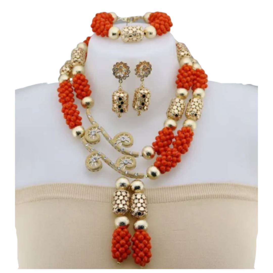 Women's High Quality Coral Jewelry Set #39 - Alagema Fabrics & Accessories