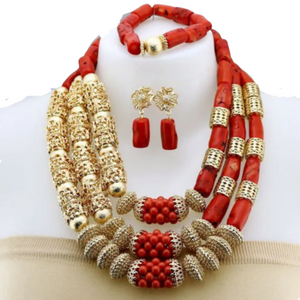 Women's High Quality Coral Jewelry Set #35 - Alagema Fabrics & Accessories