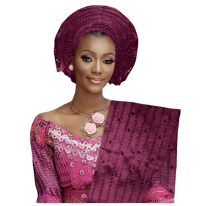 High Quality Aso Oke Beaded African Headwrap With Matching Shawl #20 - Alagema Fabrics & Accessories