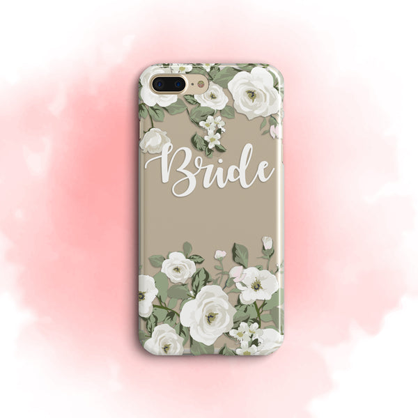 iPhone Case Clear Rubber Samsung Galaxy - Bride White Roses Case