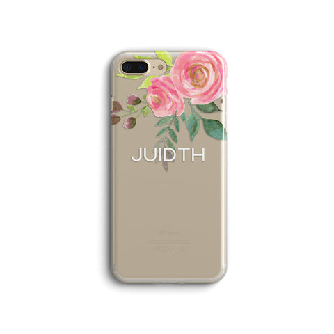 iPhone Case Clear Rubber Samsung Galaxy - Personalized Rose Case