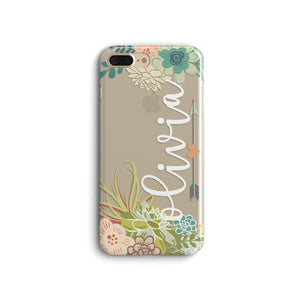 iPhone Case Clear Rubber Samsung Galaxy - Personalized Succulent Case