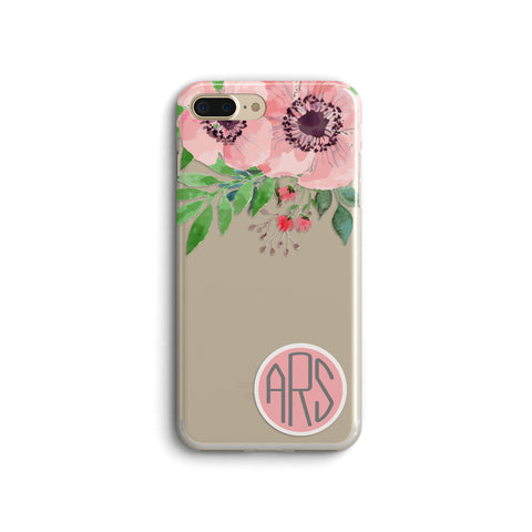 iPhone Case Clear Rubber Samsung Galaxy - Monogram Rose Case