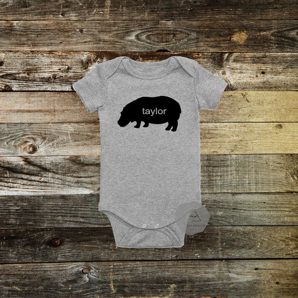 Personalized Hippo Baby Bodysuit