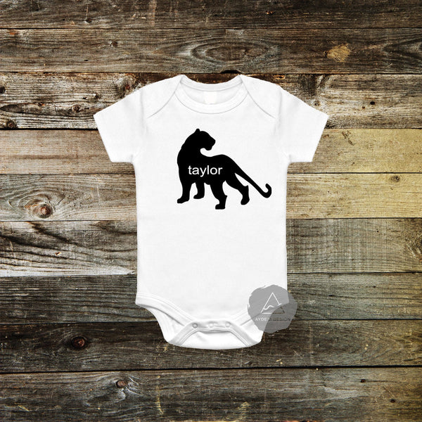 Personalized Panther Baby Bodysuit
