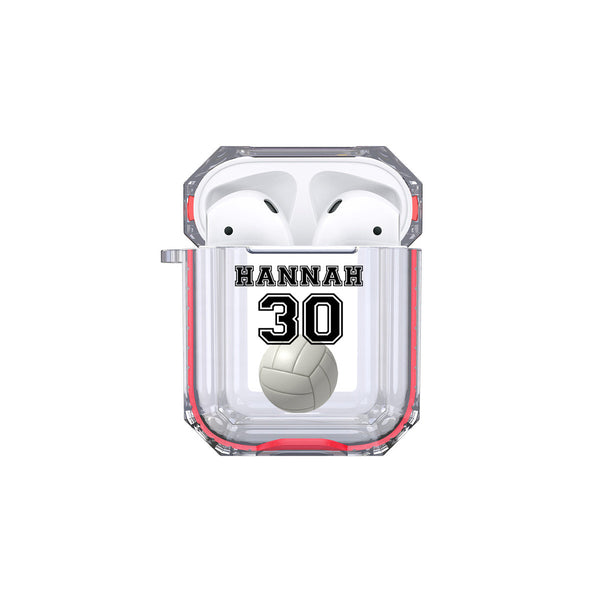 Protective Customized Sports Airpod Case Volleyball Name and Number Airpods Case Personalized Gift for Volleyball Player Volleyball Coach