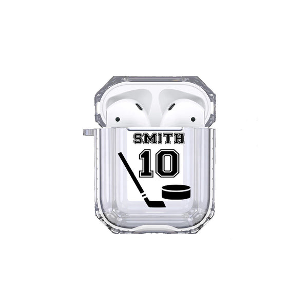 Protective Customized Sports Airpod Case Hockey Name and Number Airpods Pro Case Personalized Gift for Hockey Player Coach Mom Dad Fan Lover