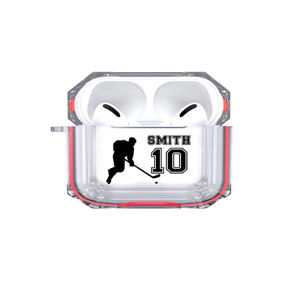 Protective Customized Sports Airpods Pro Case Hockey Name and Number Air pods Pro Case Personalized Gift for Hockey Player Coach Mom Dad Fan