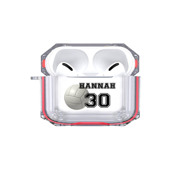 Protective Customized Sports Airpods Pro Case Volleyball Name Number Air pods Pro Case Personalized Gift Volleyball Player Volleyball Coach