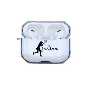 Protective Customized Sports Airpods Pro Case Girls Tennis Name Air pod Pro Case Personalized Gift Tennis Player Coach Mom Dad Women tennis
