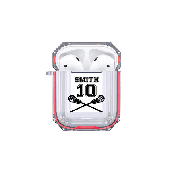Protective Customized Sports Airpod Case Lacrosse Name and Number Airpods Case Personalized Gift for Lacross Player Coach Mom Dad Fan Sports