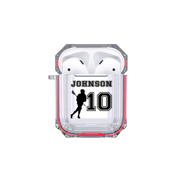 Protective Customized Sports Airpod Case LaCrosse Name and Number Airpods Case Personalized Gift for Lacrosse Player Coach Mom Dad Lacrosse