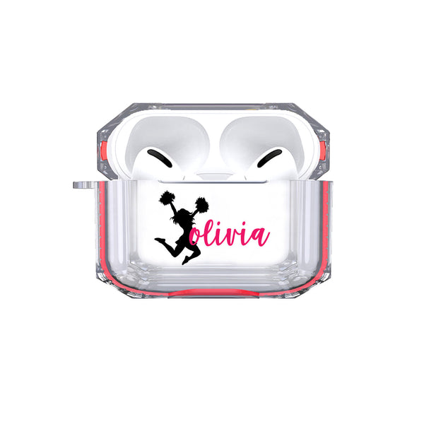 Protective Customized Sports Airpods Pro Case Cheer Name Air pod Pro Case Personalized Gift Cheerleading Cheerleader Cheer Airpod case cover