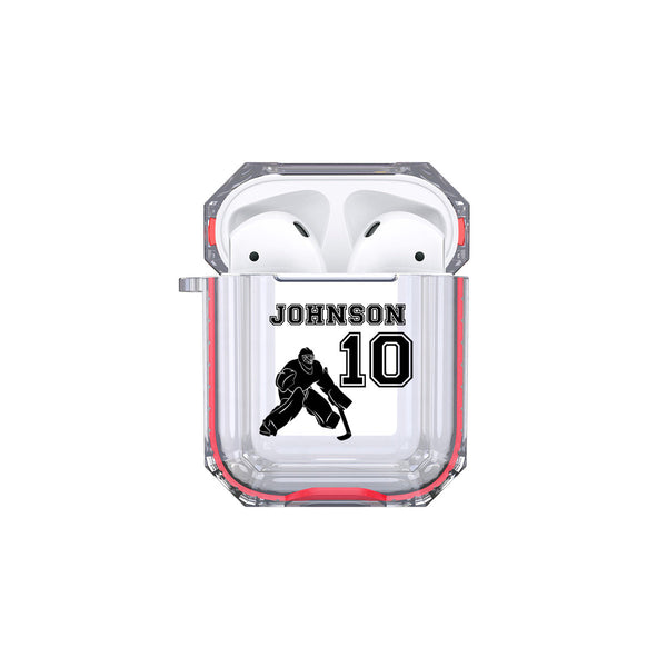 Protective Customized Sports Airpod Case Hockey Goalie Name Number Airpods Case Personalized Gift for Hockey Player Coach Mom Dad Fan Lover