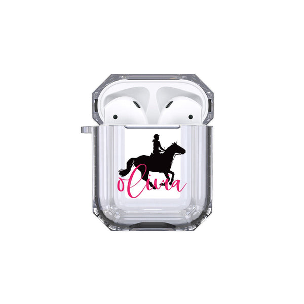 Protective Customized Sports Airpod 1 2 Case Horseback Riding Name Airpods Case Personalize Gift for Horse Rider Lover Coach Equestrian Case
