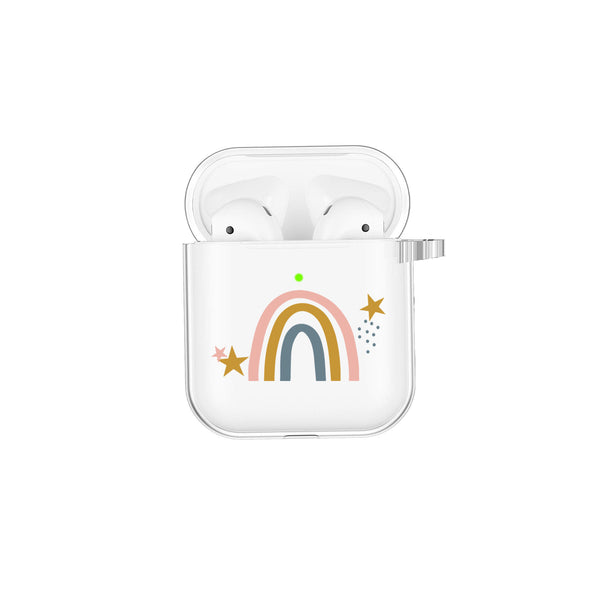 Rainbow Star Modern Design Airpod Case Airpods Case with Keychain Clip Personalized Gift Color Custom Air Pod case Cute AirPod Clear case