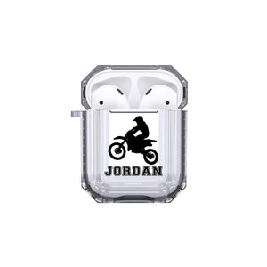 Protective Customized Sports Airpod Case Dirt Bike Rider Name Airpods Case Personalized Gift for Bike Rider Motocross Dirt Track Wild Ride