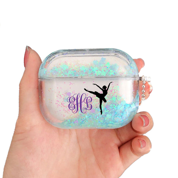Personalized Monogram Airpods Pro Glitter Case Glitter Customized Dance Case Personalized Gift for Ballerina Dancer Airpods case Dancers