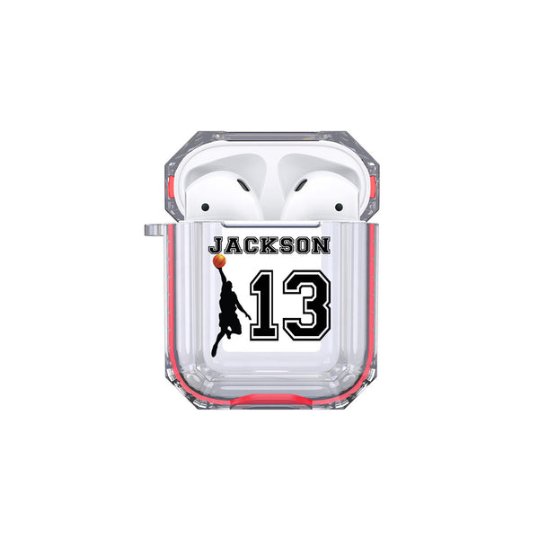 Protective Customized Sports Airpod Case Basketball Player Name and Number Airpods Case Personalized Gift for Basketball Coach Mom Dad Fan