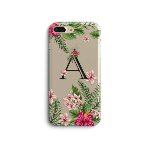 iPhone Case Clear Rubber Samsung Galaxy - Personalized Initial Tropical Case
