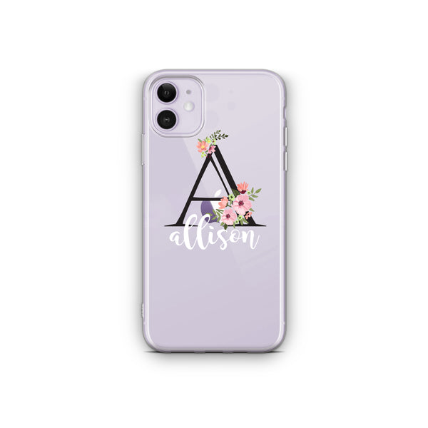 iPhone Case Clear Rubber Samsung Galaxy - Personalized Initial Case